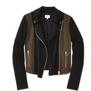 Wilfred Aritzia Montesson Moto Jacket with Zipper Details Black and Olive Green